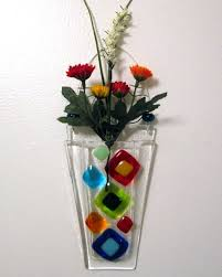 Hanging Glass Wall Vase Fused Glass Wall Vase Fused Glass Flower Vase Wall By Shakufdesign