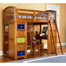 tall wooden twin loft bed with storage unit and studying space