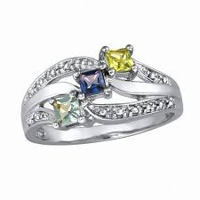 family birthstone rings sterling silver shine family simulated birthstone ring by