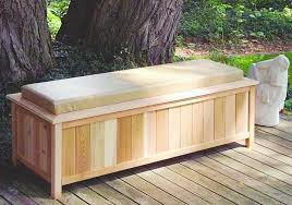 large cedar storage bench with cushion top 2054 outdoor bench