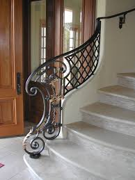 Metal Stair Rails And Banisters Fabulous Scroll Wrought Iron Half Railing Flowing Curves That