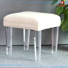 Vanity Chairs And Stools Tov Furniture Stella Bench W Tufted Grey Velvet On Acrylic
