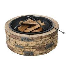 rustic wood fire pits outdoor garden firepit round fireplace yard