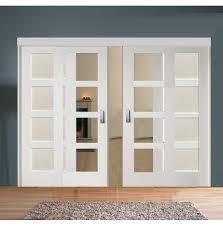 sliding room divider with white shaker glazed u0026 solid doors