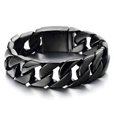 stainless steel black bracelet images Masculine men 39 s stainless steel black large curb chain jpg