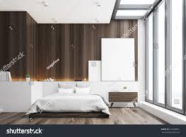 Wooden Wall Bedroom Front View Bedroom Dark Wooden Walls Stock Illustration 627668861