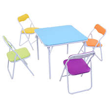 amazon com costzon 5 piece kids folding table and chair set