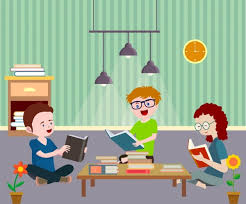 study drawing youth reading book colored cartoon vector cartoon