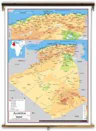 algeria physical map algeria physical educational wall map from academia maps
