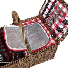charles bentley double lid wicker picnic basket set for 4
