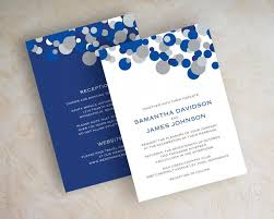 blue wedding invitations blue and silver polka dot wedding invitations sapphire blue