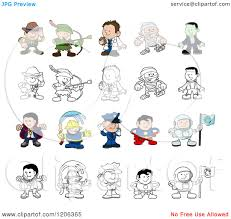 cartoon of colored and outlined people and children in halloween