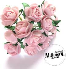 12 light pink miniature paper roses flower wired miniature roses