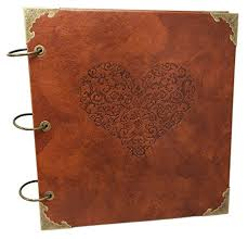 leather wedding guest book heart premium quality embossed expandable pu