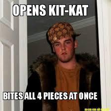 Kat Meme - meme maker opens kit kat bites all 4 pieces at once