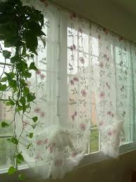 Kitchen Sheer Curtains by Hand Embroidered Pink Flowers Balloon Shade Sheer Voile Cafe