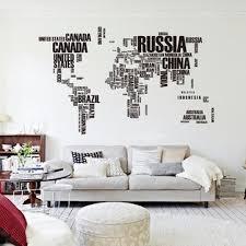 Diy Car Decor Black World Map Wall Sticker Living Room Home Decoration Car Decor