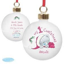 Baby S First Christmas Bauble by Personalised Baby U0027s First Christmas My First Christmas Baubles