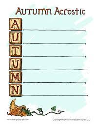 printable acrostic poem for autumn with acrostic poem exle