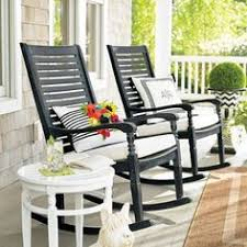 Patio Furniture Rocking Chair Black Rocking Chair On Front Porch With Lantern Yard Poтenтιal