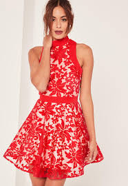 red lace choker strap skater dress missguided