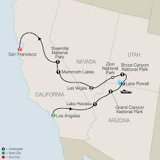 Map San Francisco To Yosemite National Park by National Parks Tour America Vacation Packages Usa Globus