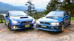 subaru wrx sti old v new comparison 2015 sedan v 1999 two door
