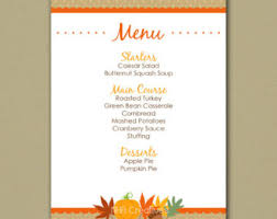 customizable menu templates thanksgiving menu etsy