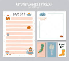 To Do Stickers Cute Daily Calendar And To Do List Template U2014 Stock Vector