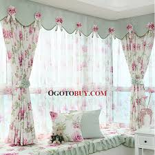 Discount Curtains And Valances Polyester Purple Floral Pattern Privacy Bay Window Curtain Without