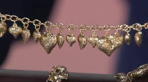 gold hearts charm bracelet images Vicenza gold diamond cut heart charm bracelet 14k gold on qvc jpg