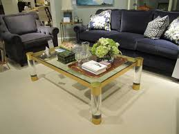 square acrylic waterfall coffee table for living room with cream
