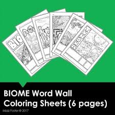 biome word wall coloring sheets 6 pages by mizzz foster tpt