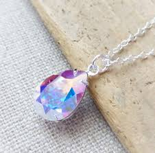 jewelry crystal necklace silver images Aurora borealis swarovski crystal necklace ab teardrop sterling jpg