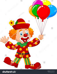 clown balloon l adorable clown holding colorful balloon isolated stock vector