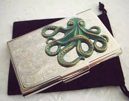 Vintage Business Card Case Green Octopus Business Card Case Gothic Victorian Nautical