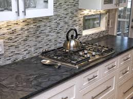black and grey glass tile backsplash kitchen superb white kitchen