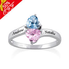 rings with birthstones and names 2 name ring with birthstones