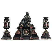 Mantle Piece Clock A Fantastic Black Marble U0027retour De L U0027egypt U0027 Mantle Clock With Two