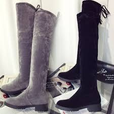 womens boots zip up back fashion womens boots knee flat heel faux suede boots