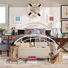 vintage headboard reading l amazon com white antique vintage metal bed frame rustic wrought