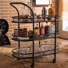 decor therapy black rolling bar cart with wine rack fr6324 the