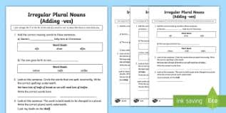 ks2 plural and singular words and vocabulary ks2 page 1