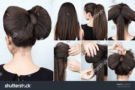 ripple hairstyle fashionable hairstyle volume bow ripple curly stock photo
