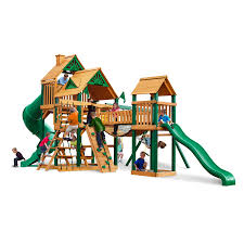 Playground Flooring Lowes by Shop Gorilla Playsets Treasure Trove Wood Playset With Swings At