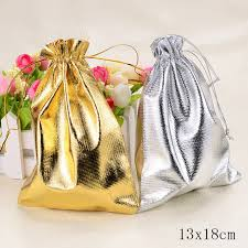 gold organza bags wholesale silver gold gift bag 13x18cm candy pouches golden