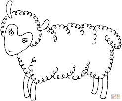 sheep illustration coloring page free printable coloring pages
