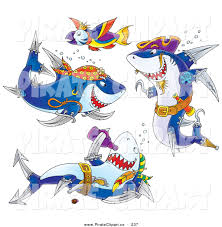 clip art of a group of three pirate sharks and a parrot fish on