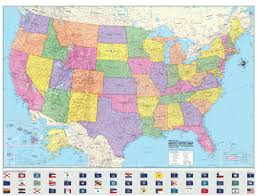 usa map just states united states wall map usa state flags poster paper folded
