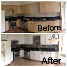 before and after of my kitchen added the airstone backsplash